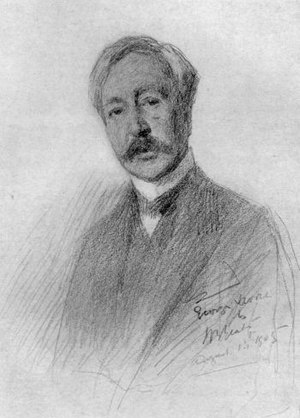 George Moore (novelist) - Charcoal drawing of George Moore