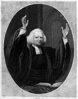 George Whitefield - Whitefield preaching. 1857 engraving