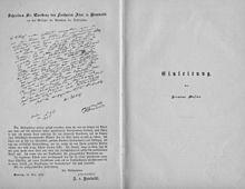Handschrift A. v. Humboldts als Erwiderung auf die Widmung des Werkes Die gesammten Naturwissenschaften (Quelle: Wikimedia)