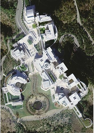 Getty Center - USGS satellite image of the Getty Center. The circular building to the left is the Getty Research Institute. The two buildings at the top are the Getty Trust administrative offices and the rest is the Museum.