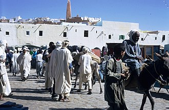 Mozabite people - Market on the main square, Ghardaia, Algeria