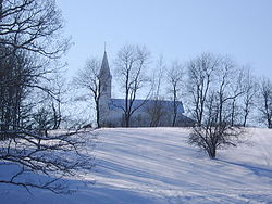 St. John's Wedding Chapel is a church from the 1860s that has been moved to Oak Hill, an unincorporated hamlet in Apple River Township (January, 2008).