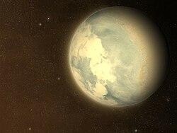 Représentation de Gliese 581 c, dans l'hypothèse d'une rotation synchrone avec son étoile. Dans ce cas, la planète montrerait toujours la même face à son soleil.