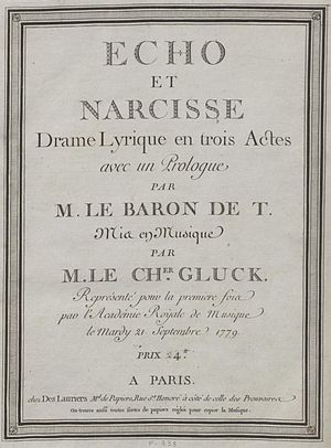 Echo et Narcisse - The cover page of a 1779 edition of the opera's score