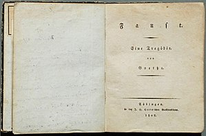 Faust, Part One - Faust I, first edition, 1808