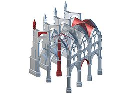 Various Elements Of Gothic Architecture Highlighted In Red