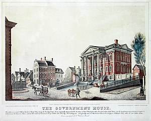 Government House (New York) - The Government House, New York,  painting by Cotton Milbourne (1797)