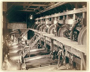 Amalgam (chemistry) - Interior of the Deadwood Terra Gold Stamp Mill. Crushed ore is washed over mercury coated copper sheets, and fine gold particles form an amalgam with the mercury. The amalgam was scraped off and the gold then separated from the amalgam by heating and evaporating the mercury which was then recovered by a condenser for reapplication to the plates