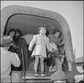 Granada Relocation Center, Amache, Colorado. Two little girls are shown descending from one of the . . . - NARA - 539906.tif