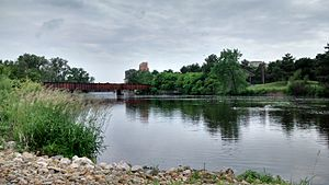 Lansing, Michigan - Grand River overlooking Lansing River Trail Bridge