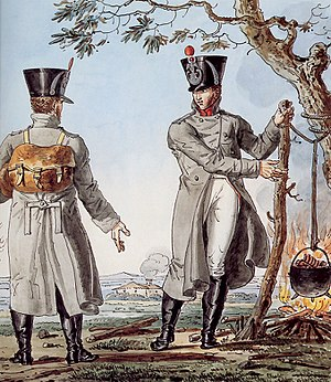 Greatcoat - Painting depicting light infantry officers of the Grande Armée wearing greatcoats.