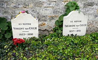 Death of Vincent van Gogh - Vincent and his brother Theo buried together in Auvers-sur-Oise. Vincent's stone bears the inscription: Ici Repose Vincent van Gogh (1853–1890), Theo's Ici Repose Theodore van Gogh (1857–1891).