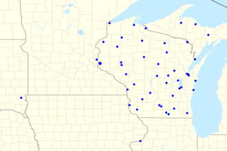 Packers Radio Network - Map of radio affiliates; note that location of transmitter sites are shown, thus WTMJ's transmitter location in Union Grove in Racine County is shown rather than Milwaukee
