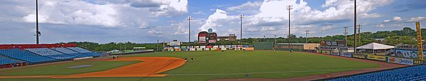 A panorama of the ballpark taken from the right field seats showing the field, entire outfield wall, guitar scoreboard, green trees outside the park, and a partly cloudy blue sky above