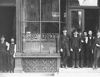 Grit (newspaper) - The Grit office as it looked in the 1890s: Publisher Dietrick Lamade is fifth from right, with the mustache.