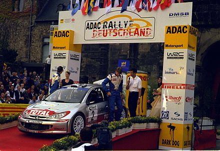 Marcus Gronholm at the 2002 Rallye Deutschland with Peugeot 206 WRC. Gronholm Deutschland 2002.jpg