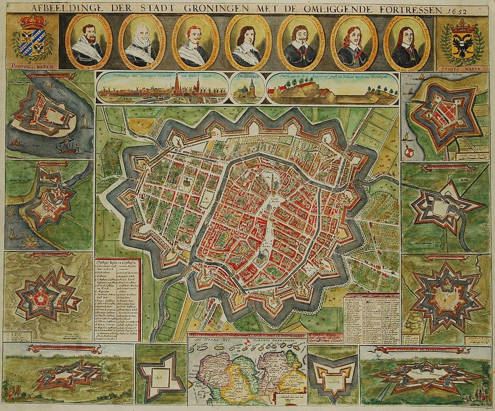 Groningen (afbeeldinge der stadt Groningen met omliggende fortressen) - Haubois, 1652