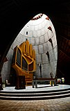 Guillou-Kleuker hand-shaped organ in Notre-Dame des Neiges, Alpe d'Huez France - distant shot.jpg