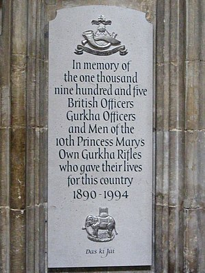 10th Princess Mary's Own Gurkha Rifles - 10 GR Memorial in Winchester Cathedral, Hampshire