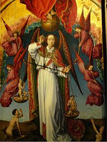 Un homme ailé portant une tunique blanche tient une balance avec un homme miniature dans chaque plateau. Il est entouré de quatre anges portant des tuniques rouges avec des trompettes.