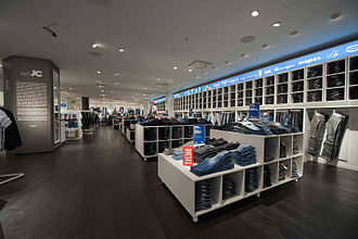 Designer clothing - The interior of the JC Jeans and Clothes boutique in Stockholm, Sweden. 2011.