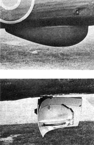 H2S (radar) - The H2S radome (top) and its enclosed scanning aerial (bottom) on a Halifax. The angled plate fixed to the top of the reflector modified the broadcast pattern to make nearby objects less bright on the display.