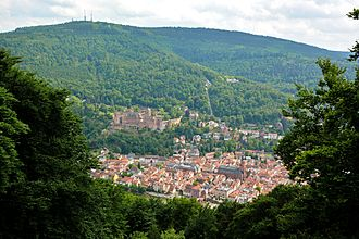 Königstuhl (Odenwald) - Old town of Heidelberg, Heidelberg Castle and Königstuhl