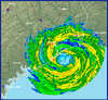 Radar image of Hurricane Ike at landfall