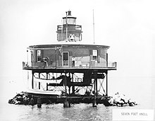 HISTORIC VIEW, CIRCA 1900 - Seven Foot Knoll Lighthouse, Mouth of Patapsco River, Riviera Beach, Anne Arundel County, MD HAER MD,2-RIVBE.V,1-37 (Cropped).jpg