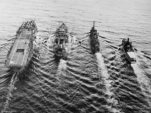 HMS Alert (far right) off Korea, circa. 1951-1953