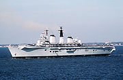 HMS Invincible, one of the Royal Navy's current  Invincible-class aircraft carrier.