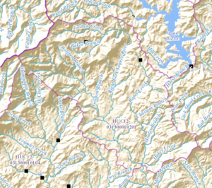 Soque River - Map showing the headwaters of the Soque River and its sub-watershed (outlined in pink), and Raper Creek
