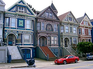 Painted ladies - These Victorian rowhouses are in the Haight-Ashbury neighborhood of San Francisco, California