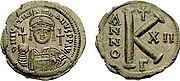 Justinian I follis, 20 nummi. Note the K on the reverse.