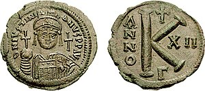 Justinian was one of the first emperors to be depicted wielding the cross on the obverse of a coin.