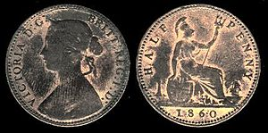 History of the halfpenny - Victoria halfpenny 1860