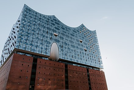 The iconic Elbphilharmonie in Hafen-City, seen from the Speicherstadt. Hamburg-Elbphilharmonie.jpg