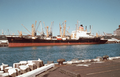 Hapag-Lloyd Cargo ship Bayernstein 1973 in the port of Auckland, New Zealand.png