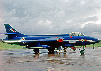 "No. 92 Squadron RAF - Hawker Hunter F.6 of 92 Squadron's ""Blue Diamonds"" aerobatic team in 1962."