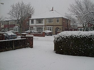Winter of 2009–10 in Great Britain and Ireland - Heavy snowfall in Southport, Merseyside, on 5 January.