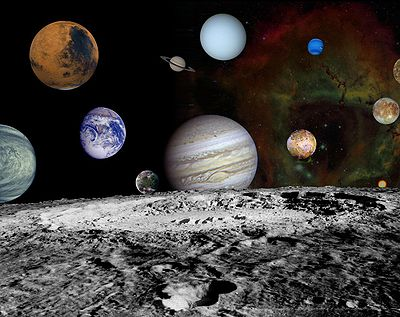 A collage of the planets in our solar system