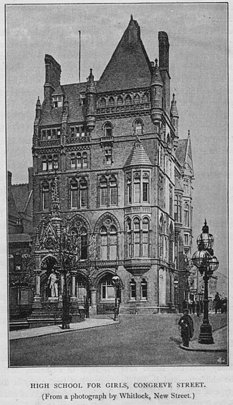 King Edward VI High School for Girls - KEHS in 1888 at the former Liberal Club in central Birmingham