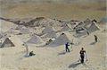 Hinko Smrekar - Velika planina s pastirskimi stanovi in bajtarji na smučeh.jpg