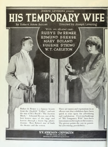 Description de l'image His temporary Wife by Joseph Levering Film Daily 1920.png.