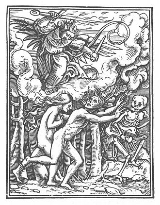 Immortality - Adam and Eve condemned to mortality. Hans Holbein the Younger, Danse Macabre, 16th century