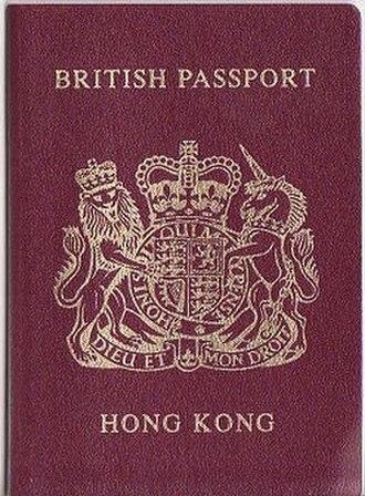 Hong Kong Special Administrative Region passport - The cover of a pre-1997 British Hong Kong Passport