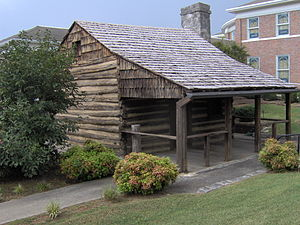 "Monticello, Kentucky - ""Racoon"" John Smith cabin in downtown Monticello"