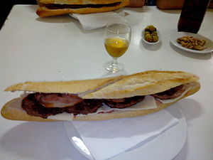 Bocadillo - Giant bocadillo of horse meat (four steaks inside).