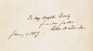 Edward Dickinson - Signature of Edward Dickinson in a book given to his daughter Emily, 1859