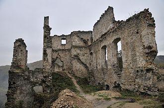 Považská Bystrica - Ruins of Považský hrad castle above the town